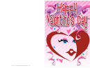 Face In A Heart Valentine Card Template