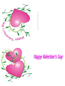 Pink Heart Valentine Card Template