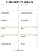 Classroom Procedures Schedule Template