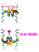 Two Parrots Valentine Card Template