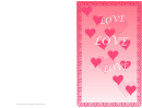 Hearts And Border Valentine Card Template