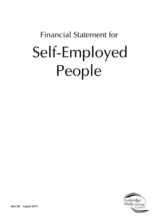 Form Ben Se - Financial Statement For Self-employed People - Tunbridge Wells Borough Council