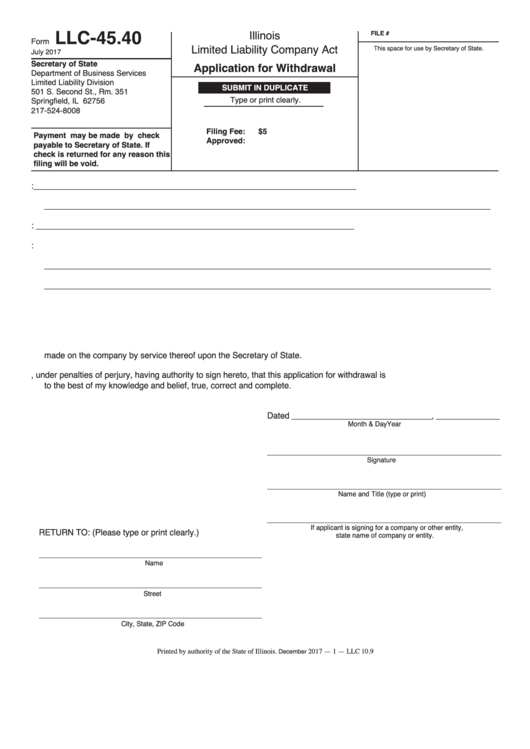 Form Llc-45.40 - Application For Withdrawal