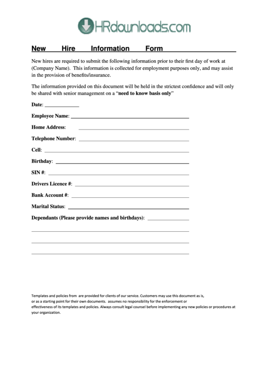New Hire Information Form