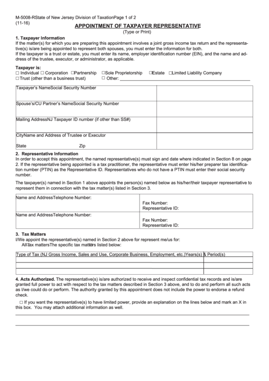 Fillable Form M-5008-R - Appointment Of Taxpayer Representative Printable pdf