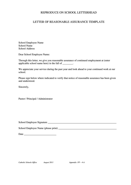 Letter Of Reasonable Assurance Template Printable Pdf Download