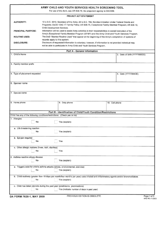 Form 7625-1 - Army Child And Youth Services Health Screening Tool Printable pdf