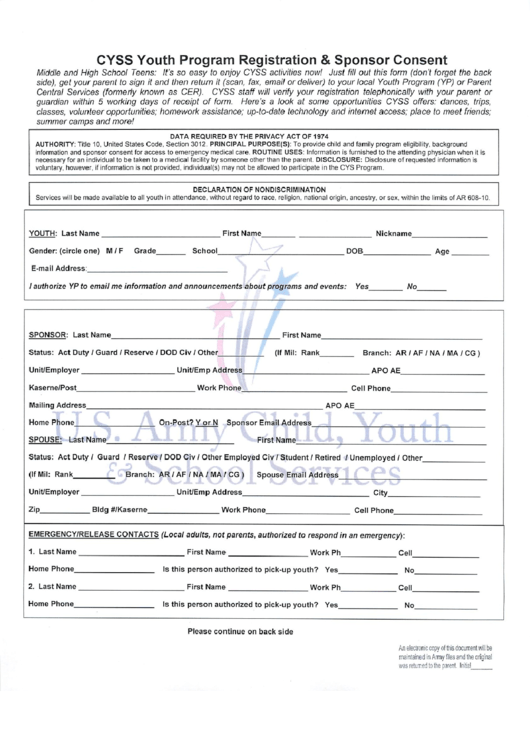 Cyss Youth Program Registration & Sponsor Consent Printable pdf