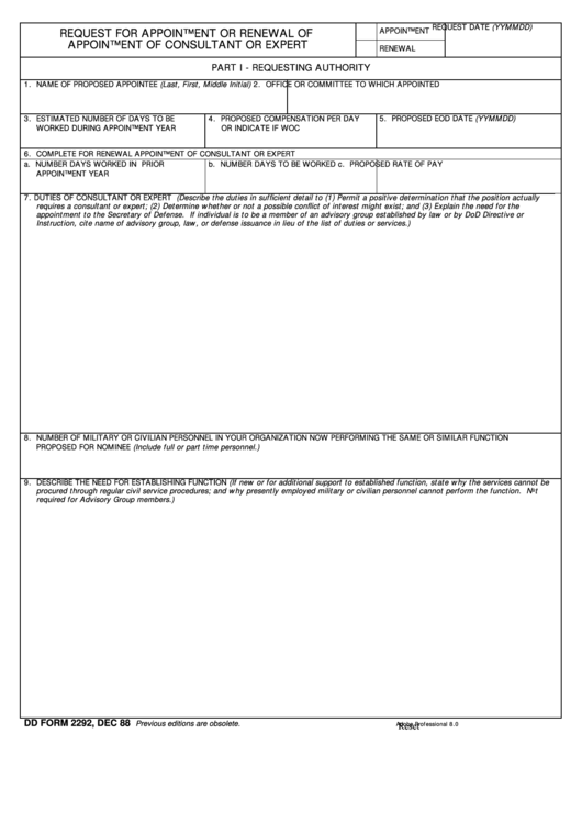 Fillable Dd Form 2292 - Request For Appointment Or Renewal