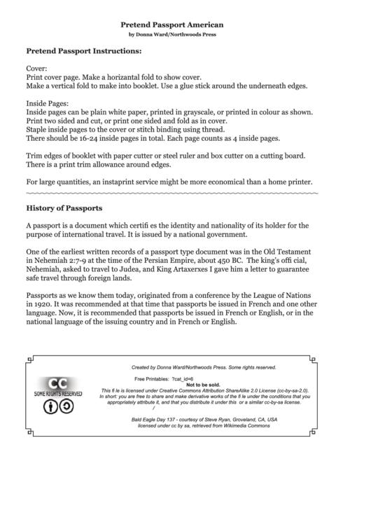 American Pretend Passport Printable pdf
