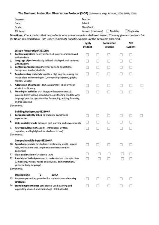 The Sheltered Instruction Observation Protocol Siop Form Printable