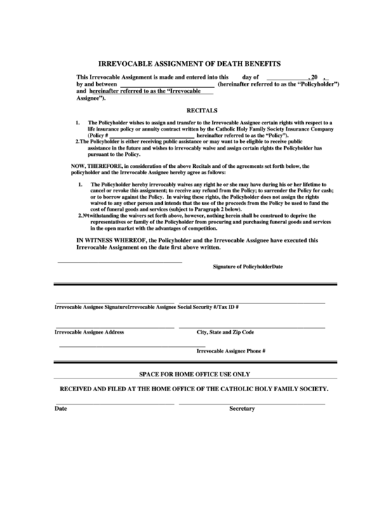 Irrevocable Assignment Of Death Benefits printable pdf ...