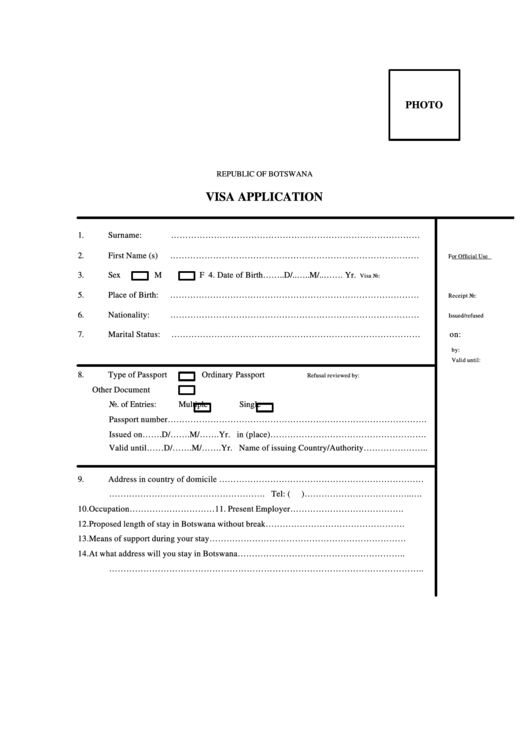 Top 6 Botswana Visa Application Form Templates Free To Download In Pdf Format