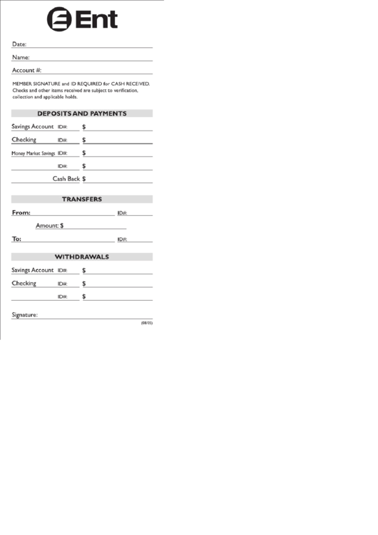 Deposit Slip Ticket Template