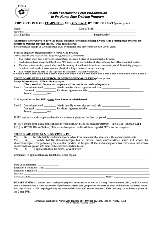 Health Examination Form For Admission To The Nurse Aide