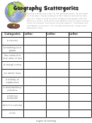 Geography Scattergories Sheet