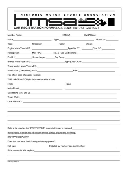 Form Crf-01 - Car Registration Form - Historic Motor Sports Association