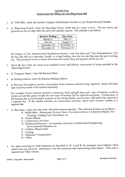 Instructions For Form 600 - Sales Tax Return - Navajo Tax Commission