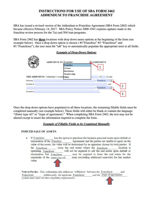Fillable Sba Form 2462 - Addendum To Franchise Agreement printable ...