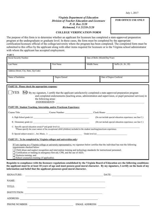 College Verification Form - Virginia Department Of Education Printable pdf