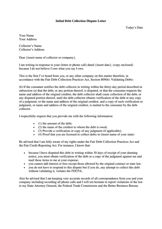 3 debt dispute letter templates free to download in pdf