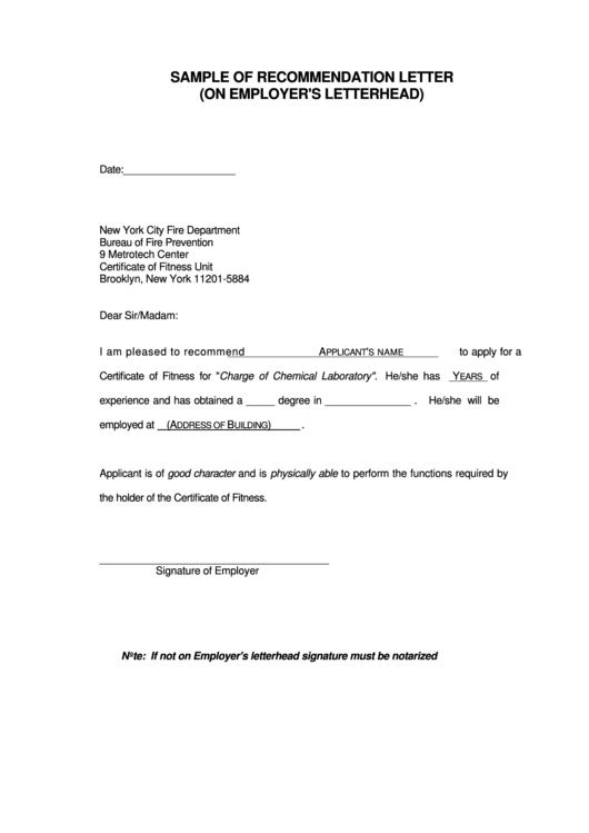 Sample Of Recommendation Letter (on Employer's Letterhead)