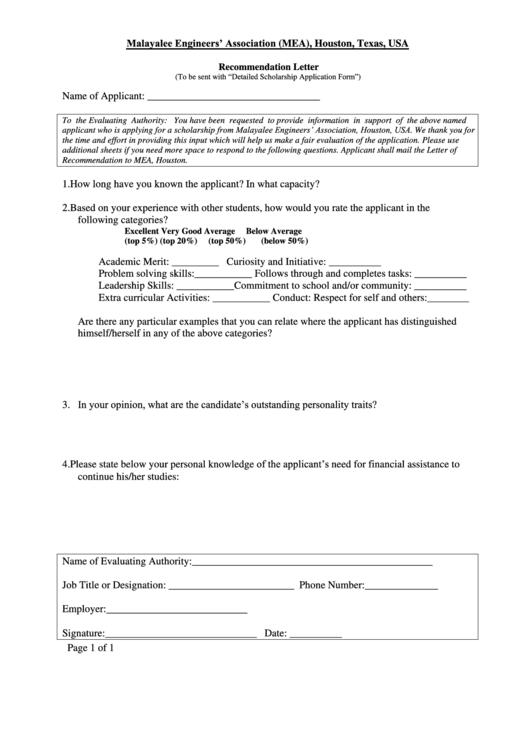 Recommendation Letter Sample printable pdf download