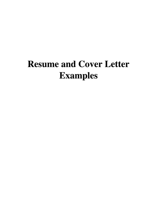 Resume And Cover Letter Examples Printable pdf