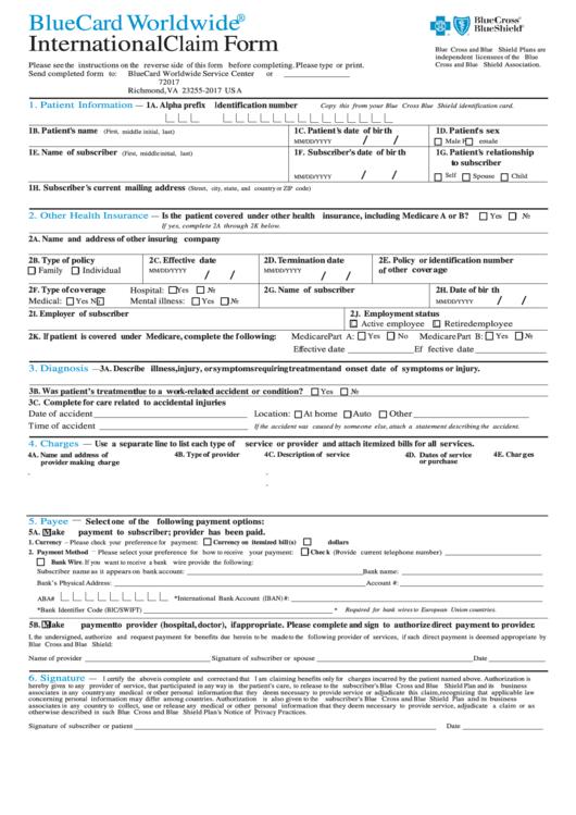 Bluecard Worldwide International Claim Form printable pdf ...