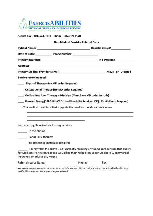 Fillable Non-Medical Provider Referral Form - Physical Therapy