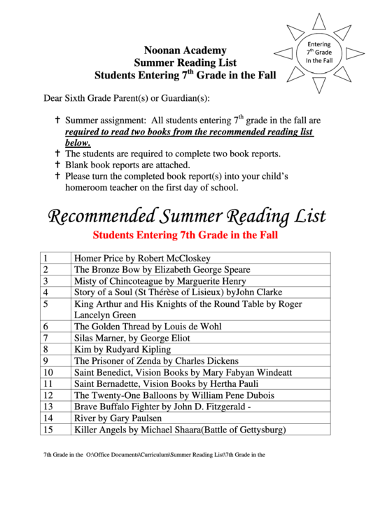 Summer Reading List And Book Report - 7th Grade