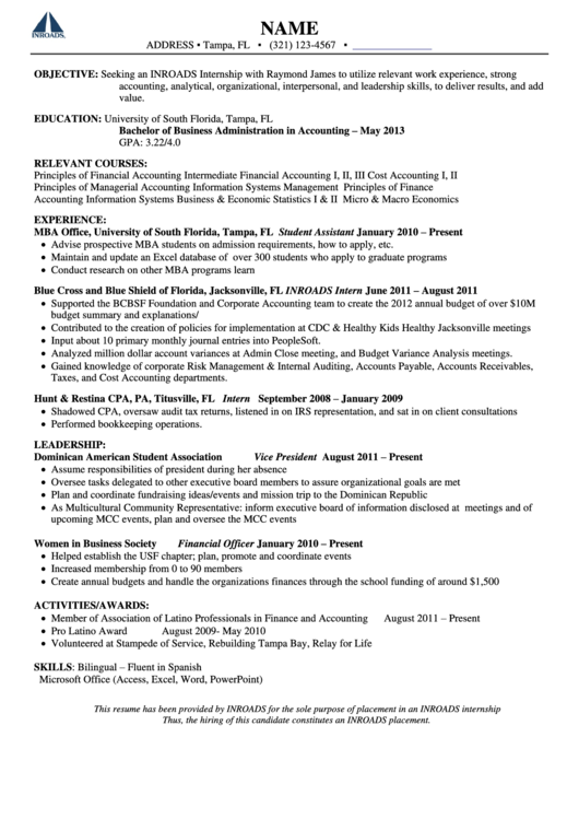 Inroads Resume Template Printable pdf