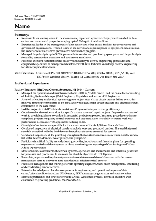 Chief Engineer Resume Sample
