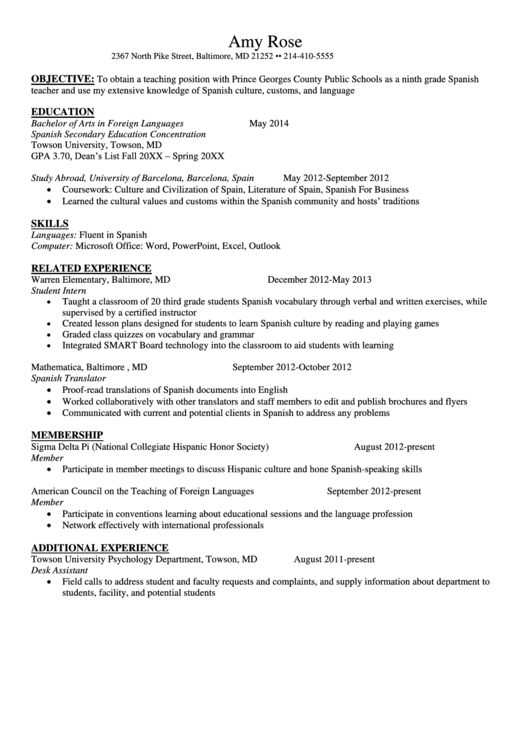Sample Resume Foreign Languages Template Printable pdf