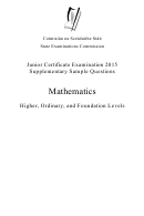 Mathematics Supplementary Sample Questions -junior Certificate Examination