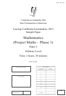 Mathematics - Leaving Certificate Examination - Sample Paper - 2012