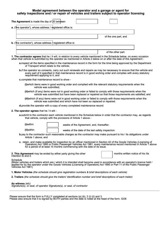 Model Agreement Between The Operator And A Garage Or Agent For Safety Inspections And/or Repair Of Vehicles And Trailers Subject To Operator Licensing - Maintenance Agreement Template