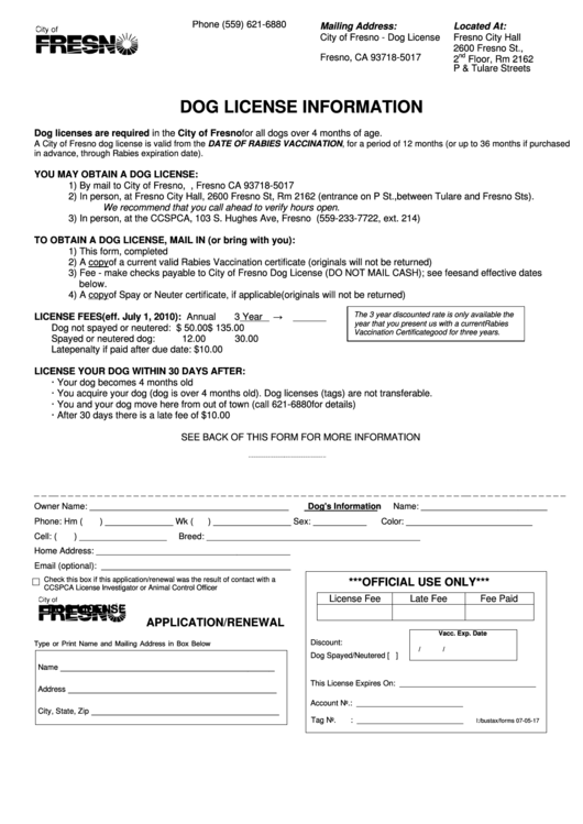 Dog License Application Renewal City Of Fresno Printable