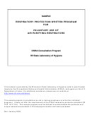 Respiratory Protection Written Program Template - Voluntary Use Of Air Purifying Respirators