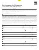 Form Bbg6185 - Authorization For Information And Certificate Of Authority