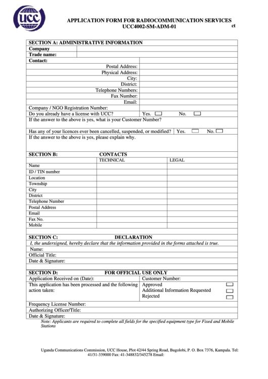 Form Ucc4002-sm-adm-01 - Application Form For Radiocommunication Services