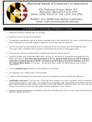 Original License Application - Maryland Board Of Examiners In Optometry