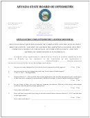 Application For Optometry License Renewal - Nevada State Board Of Optometry