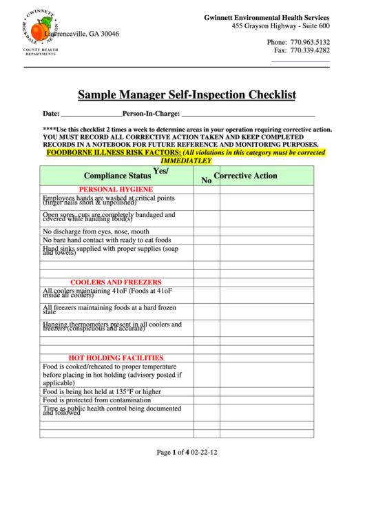 sample manager self-inspection checklist