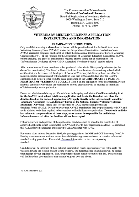Ma Division Of Professional Licensure >> Veterinary Medicine Licensure Application Massachusetts Division