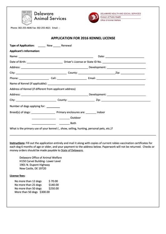 Application For 2016 Kennel License - Delaware Office Of ...