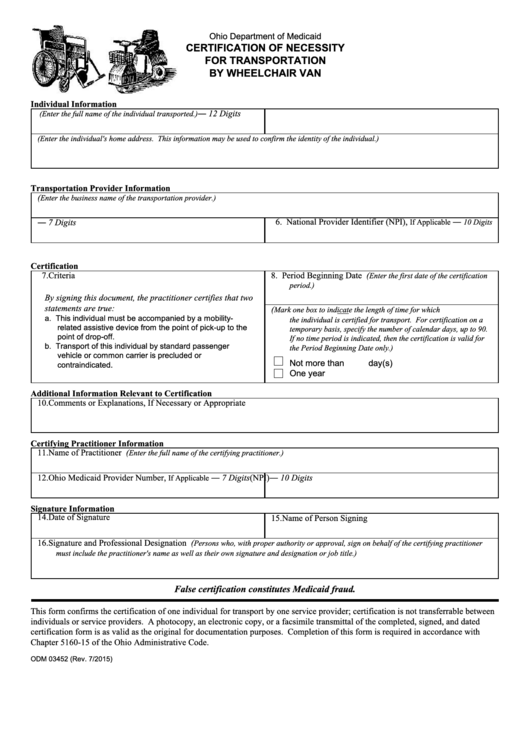 Fillable Form Odm 03452 - Certification Of Necessity For ...