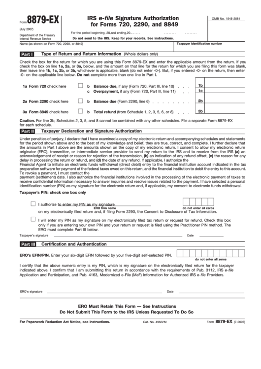 Fillable Form 8879 Ex Irs E File Signature Authorization For Forms