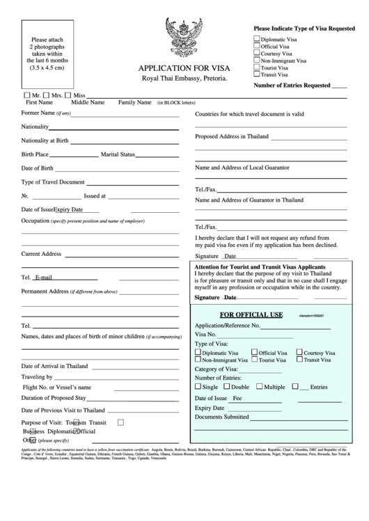 Application For Visa - Royal Thai Embassy, Pretoria Printable pdf