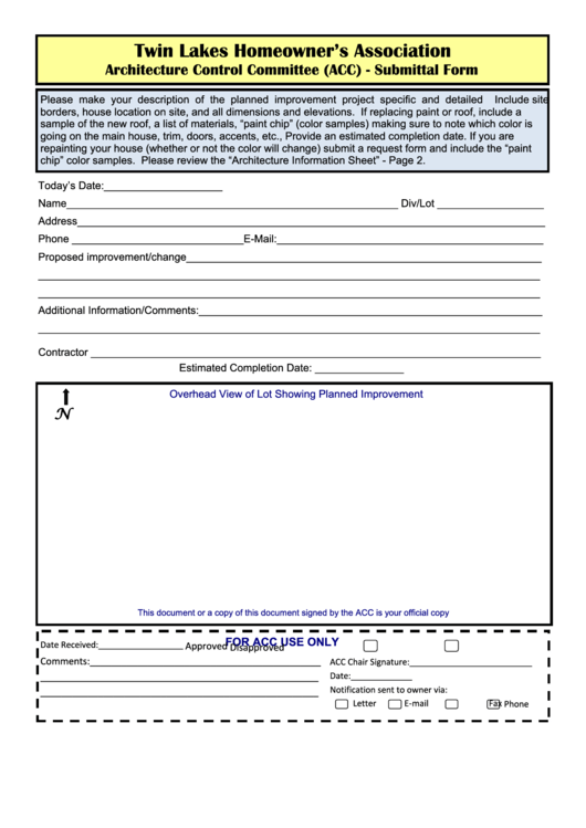 Homeowner's Association Architecture Control Committee (acc) - Submittal Form